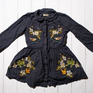 Navy Waisted Dress with Bird and Floral Embroidery